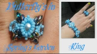 Butterflies in Spring Garden Ring Beading Tutorial by HoneyBeads1 (with superduo beads)