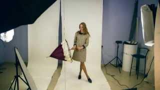 Платье-трапеция с замшевыми воротником и манжетами Lilo