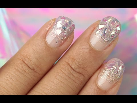 Glitter Manicure With Shattered Glass Nails Youtube