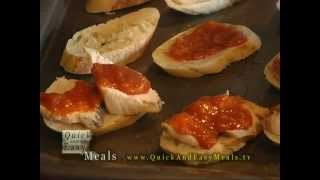 Chicken Crostini With Peach Bbq Sauce - Quick And Easy Meals