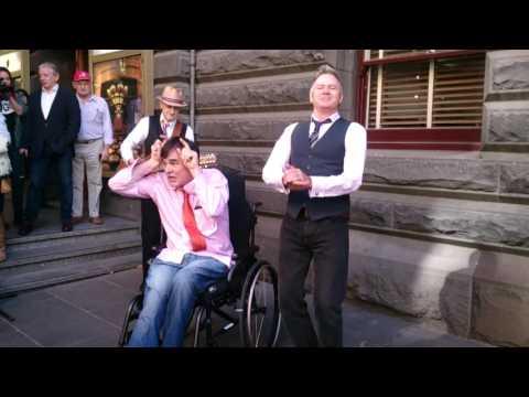 The Doug Anthony Allstars busking at Melbourne Town Hall  Krishna