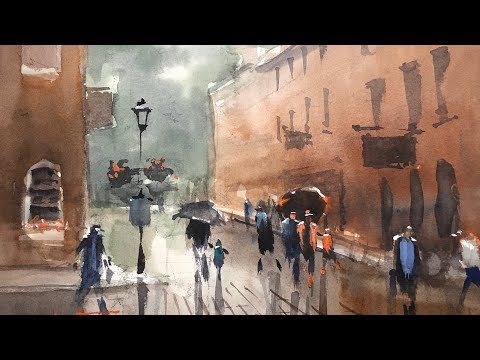 "Advancing with Watercolor: Edges ""Rainy Day, Newburyport"""