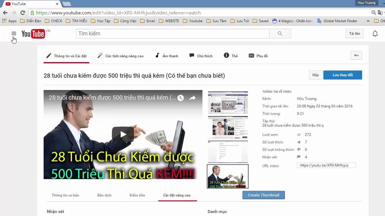 Cách ẩn lượt like và comment của video trên youtube