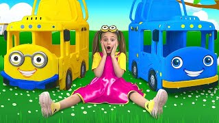 Download Sasha and Max playing with Toy Buses and draws Toys on magic Tablet Mp3 and Videos