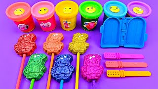 Satisfying Video l How To Make Playdoh Ice Cream with Peppa Pig Lollipop Glitter ASMR #158