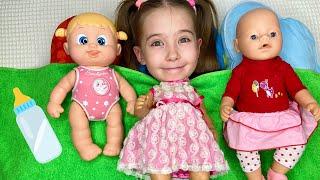 Маша играет с подружками. Куклы как малыши не хотят спать