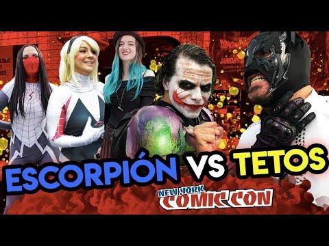 Escorpi�n Dorado suelto en Comic Con Nueva York 2018, nadie se resiste al peluche