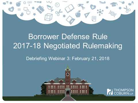 Borrower Defense Rule: Negotiated Rulemaking Session 3