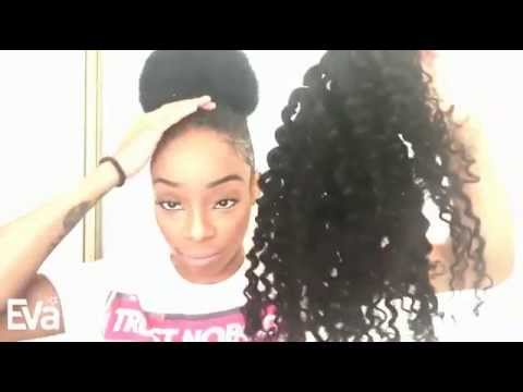 How to create a pretty bun evawigs kinky curly virgin hair how to create a pretty bun evawigs kinky curly virgin hair extensions review by sharee love youtube pmusecretfo Image collections