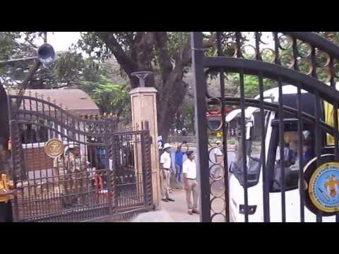 Team India Bus Entering Chinnaswamy Stadium Bangalore