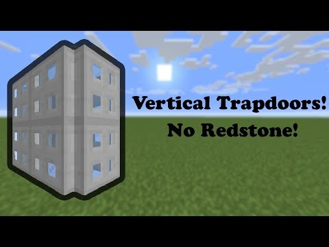 Vertical Iron Trapdoors Without A Constant Redstone Signal! - [Survival Tutorial]