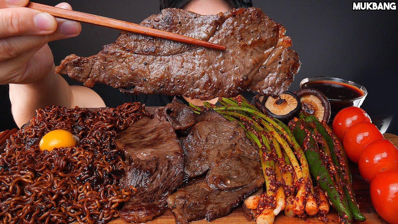 ASMR MUKBANG   STEAK 🥩 BLACK BEAN NOODLES MUSHROOM KIMCHI EATING 짜파게티 한우 소고기 구이 파김치 고추 소스 퐁당! 먹방