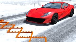 Spike Strip Multi-Vehicle Pileup Crashes #16 - BeamNG Drive Police Spike Strip Testing