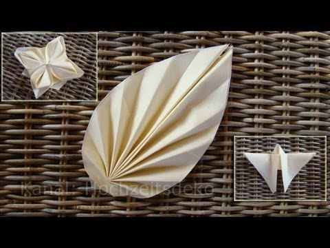 Napkin Folding techniques: Flower, Leaf, Butterfly - Table decoration