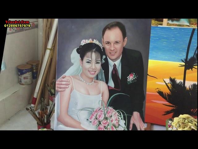 Tranh châ dung vẽ theo yêu cầu, chân dung cô dâu chú rể +trieuart com+DT 0786757979