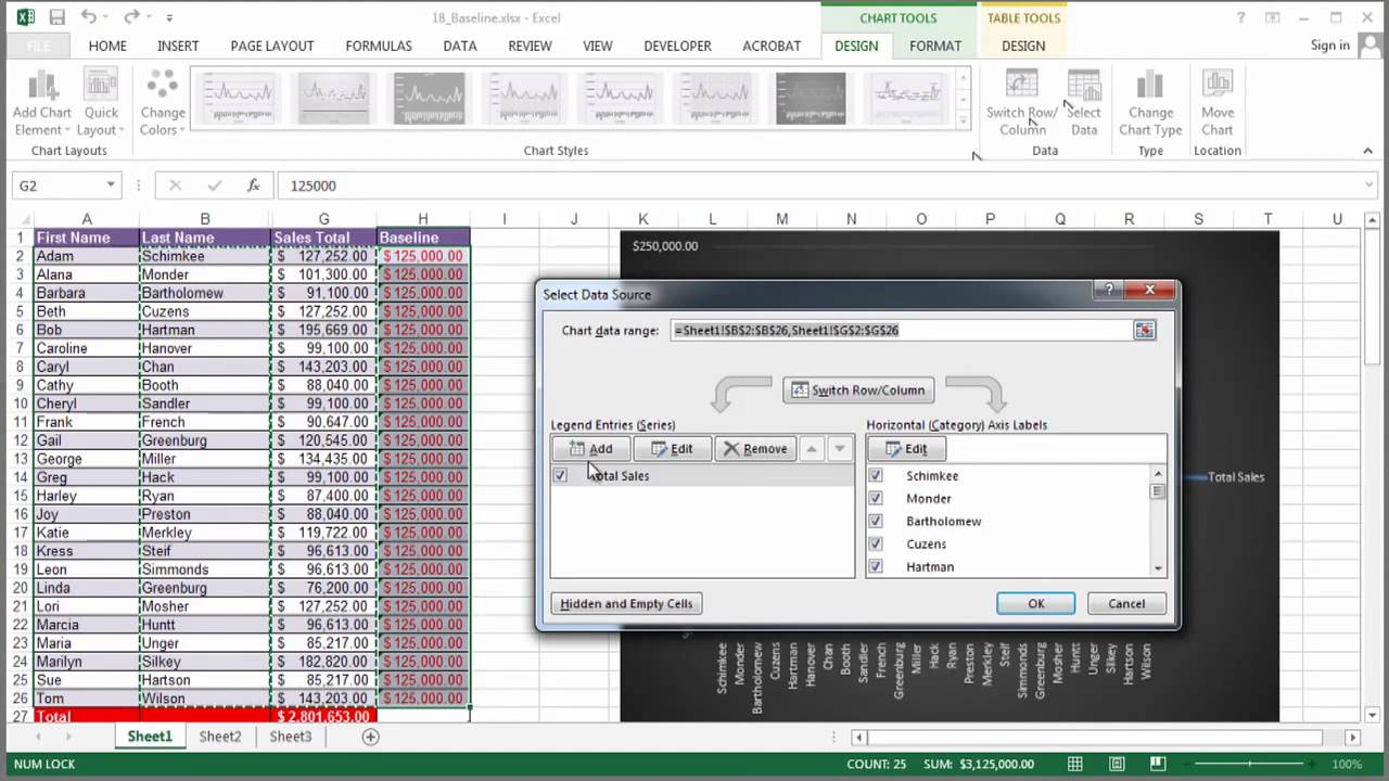 how to create a baseline with excel   using excel