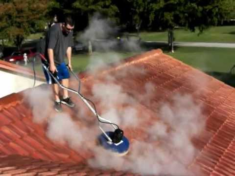 Extremely fast roof cleaning using a 30 hp 3500 psi 9 gpm hot water pressure washer 800 666 - Using water pressure roof cleaning ...
