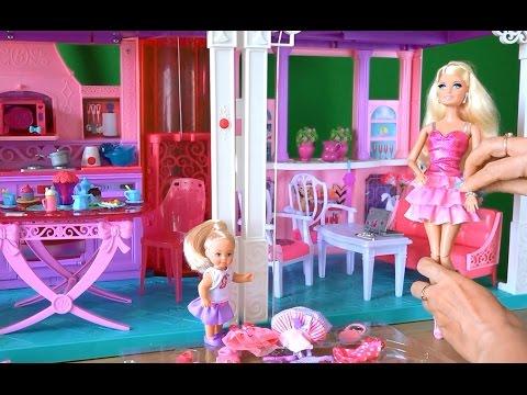 Авто домик для куклы Барби с мебелью. Распаковка игрушек