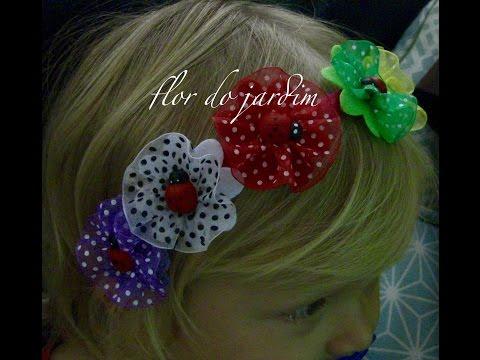 Tiara com flores colorida  de feltro e ...