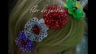 Tiara com flores colorida de feltro e fita de organza -Ribbon flowers