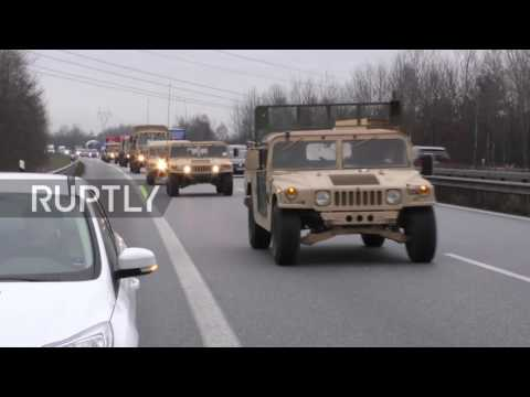 Germany: US Army Humvees depart for Poland as part of NATO buildup