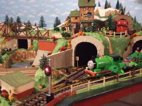 Thomas The Tank Engine and Percy help pull the Toy Trains