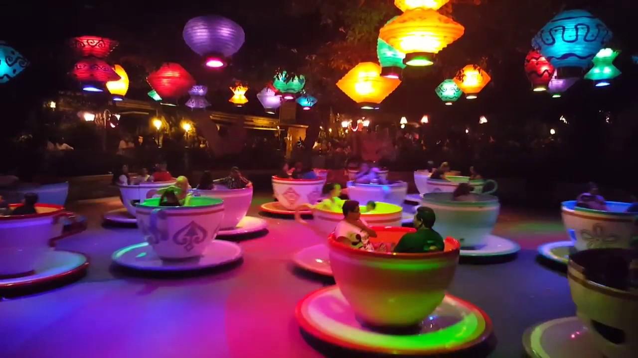 Mad Tea Party at Night - Disneyland - 09/25/16 - YouTube