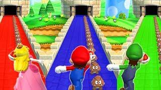Mario Party 9 - Minigames - Mario vs Luigi vs Peach vs Daisy - Funny Minigames