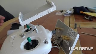 Dji phantom 3 standard remote mobile device holder and monitor hood modification