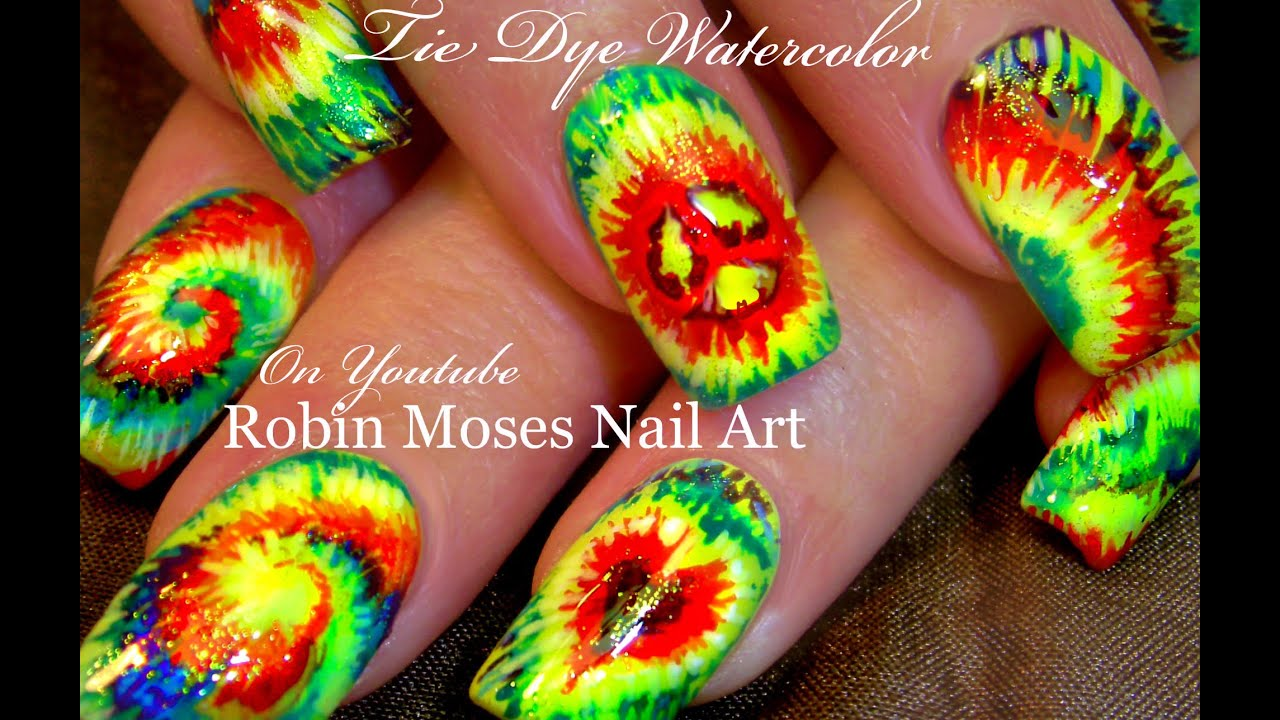 Diy Tie Dye Nails Hippie Rasta Watercolor Nail Art Design Tutorial