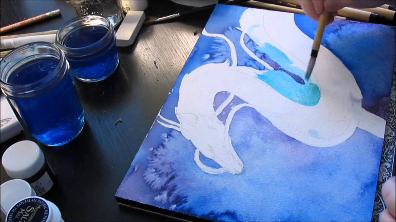 Haku Dragon Form Spirited Away Watercolour Speed Painting Youtube