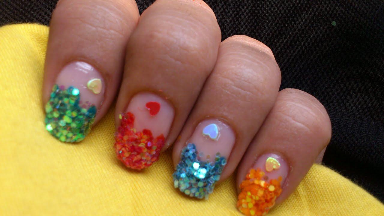 big glitter nail art design colorful