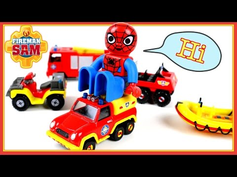 Thumbnail: Fireman Sam Trucks and Cars for kids presented by Spiderman and McQueen - toy review stop motion