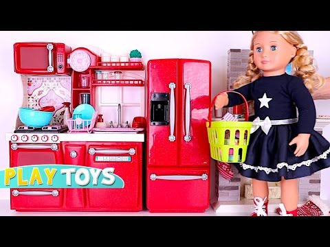 Thumbnail: Playing baby doll Kitchen Toys - Doll house & cooking toys w/ American Girl doll & OG Dolls