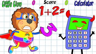 Lion Family   Learn Numbers. Math Contest vs Calculator   Cartoon for Kids