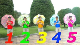 Five Little Babies Jumping On The Bad Song with Guka and Colorful Umbrellas | Nursery Song for Kids