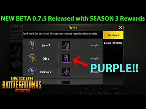 NEW BETA 0.7.5 Released With SEASON 3 REWARDS - Download NOW!! | PUBG Mobile
