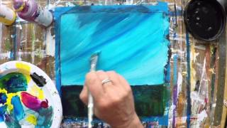 Painting an abstract seascape - acrylic painting demonstration