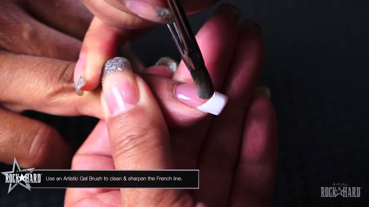 Artistic Rock Hard Nails Finish with French Manicure - YouTube