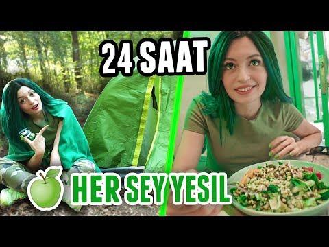 24 SAAT BOYUNCA HER ŞEY YEŞİL!!! (Yeşil Saç, Yeşil Araba, Yeşil Oreo)