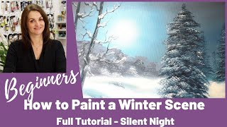 Silent Night Oil Painting Suitable for beginners - Full Length Tutorial FREE - Paint with Maz