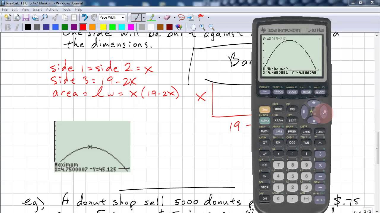 PreCalculus 11 Chp 4 7 - Modelling with Quadratic Functions