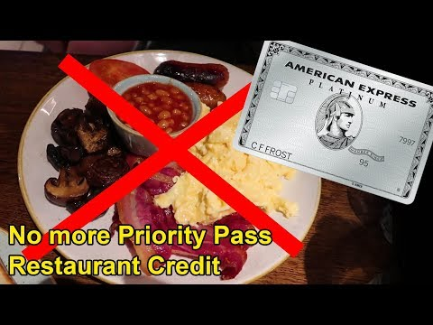 Amex Cutting Priority Pass Restaurant Credit Aug 1st (Reports)