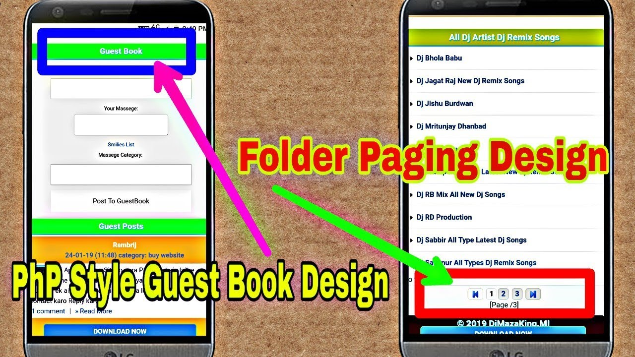 Wapkiz PhP Style Guest Book Page Design And Folder Paging