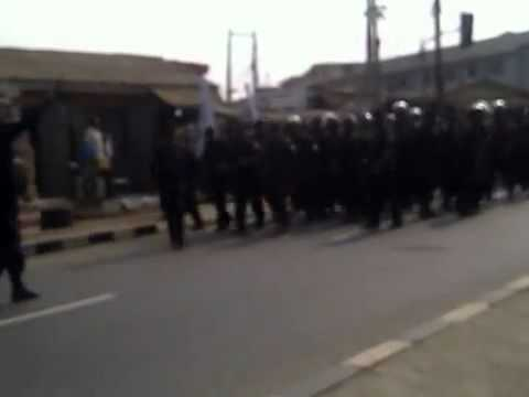 Download Nigerian Policemen Protest In Lagos Over Subsidy Removal