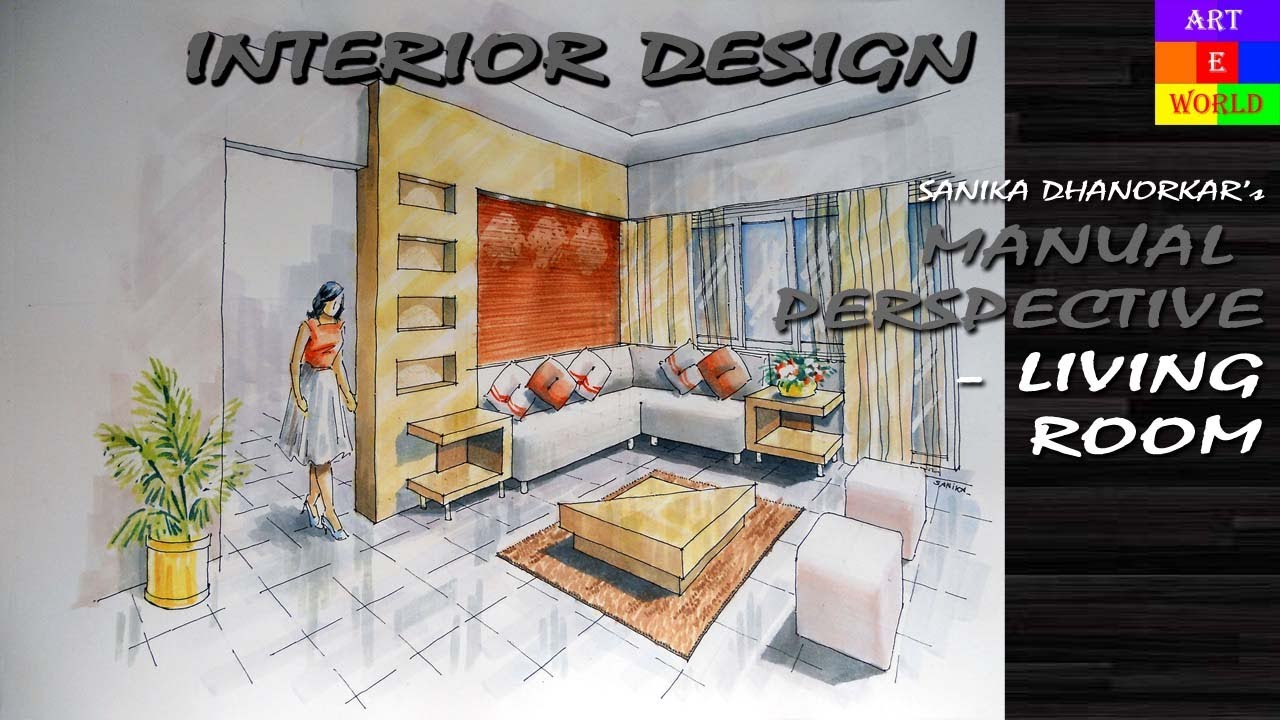 Living Room 2 Point Perspective 13: manual rendering | 2-point interior perspective drawing