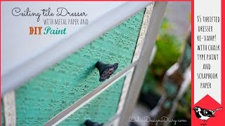How To Paint And Distress Furniture With Metal Scrapbook Paper And Chalk Type Paint