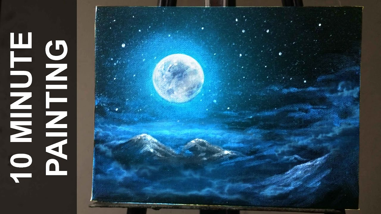 Painting moonlit clouds in a starry night sky with for How to start acrylic painting