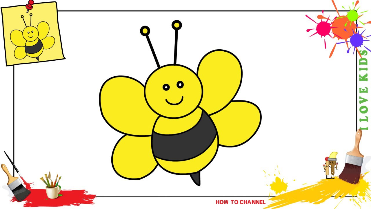 How To Draw A Bee Easy Slowly Step By Step For Kids And Beginners