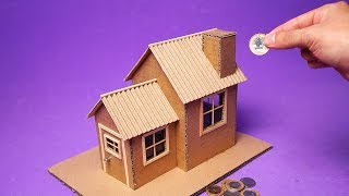 DIY House Coin Bank from cardboard